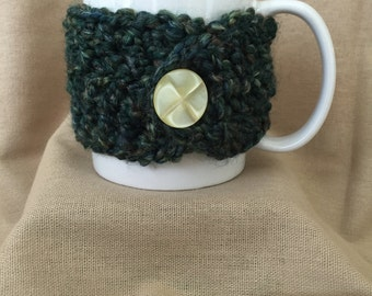 Forest Green; Fuzzy Handmade Crochet Coffee Mug Cozy