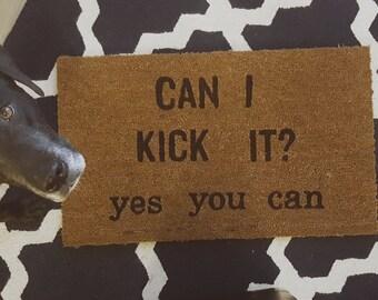 Can I Kick It? Welcome Mat, Tribe Called Quest rug, Phift Dawg Lyrics, unique handmade home decor, hip hop doormat, 90's rap