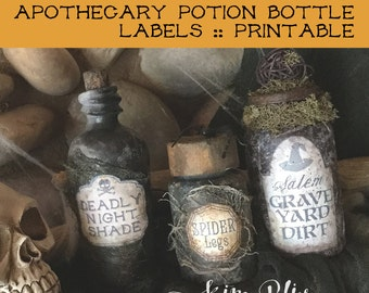 Halloween Printable: Apothecary Potion Bottle Labels | Witches Apothecary | DIY Halloween Crafts | Scrapbooking | Paper Crafts