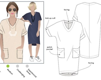 Style Arc Sewing Pattern - Adeline Dress - Sizes 10, 12, 14 - Women's Pull On Dress - PDF Sewing Pattern