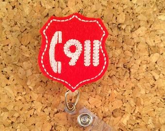 Badge Reels |  911 Call ID Badge Reel | Felt Badge Reel | Badge Pull | Lanyard | Emergency Call Center  | 977