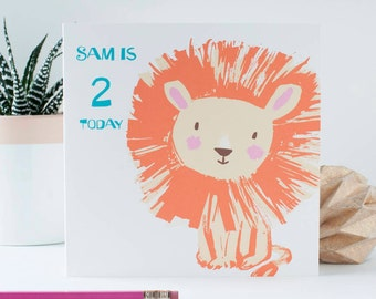 Personalised Lion Birthday Age Card for young boys and girls, any age can be printed on the front with the childs name, Cute animal card