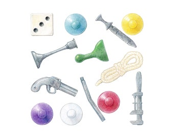 Clue™ game pieces / Archival print of colored pencil drawing  / giclée print / wall art