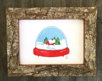 Winter snowglobe linocut - Archival digital print of my hand-pulled print