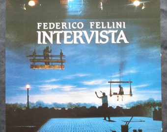 "Federico Fellini, Intervista - Authentic 1987 Belgian movie, film poster, original - 14"" x 20"" / 37.5 x 50.5cm - Cult movie (P01)"