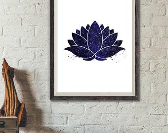 Lotus Flower Print, Yoga Print, Lotus Watercolor Navy Blue Stars, Lotus Wall Art, Lotus Decor, Yoga Decor, Yoga Poster, Yoga Studio (A0387)