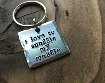 I Love To Snuggle My Muggle Pet ID Tag, Dog Tag, Hand Stamped Pet Tag