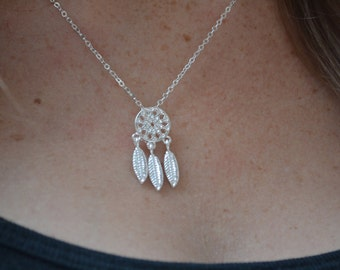 Silver Boho Delicate 3 Feather Dreamcatcher Necklace- 1 tree is planted with every purchase