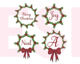 Christmas svg files,Holly SVG, DXF, EPS & Png, Christmas svg files, Christmas Monogram Svg, for use with Silhouette Studio and Cricut Design