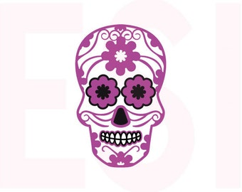 Sugar Skull SVG, DXF, EPS,cutting files use with Silhouette Studio & Cricut Design space. Halloween, Day of the dead.