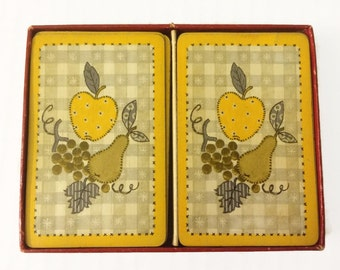 Vintage Canasta Double Deck Playing Cards Yellow, Green, White Country Fruit Picnic Linen Cards