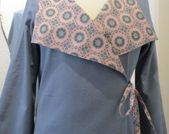 Reversible wrap jacket in Japanese style, pigeon blue/pink patterned summer sale 50%