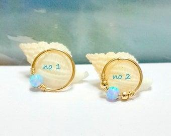 Light-Blue Opal Cartilage Earring- Gold Beaded Helix Hoop- Silver Cartilage Piercing- Helix Jewelry- 16-22 Gauge- 7-12mm Inner Diameter