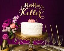 Wedding Cake Topper   Custom Last Name   SIlver or Gold Metallic