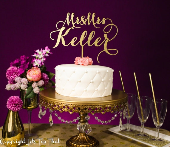gold name wedding cake topper wedding cake topper custom last name silver or by letstopthat 14802
