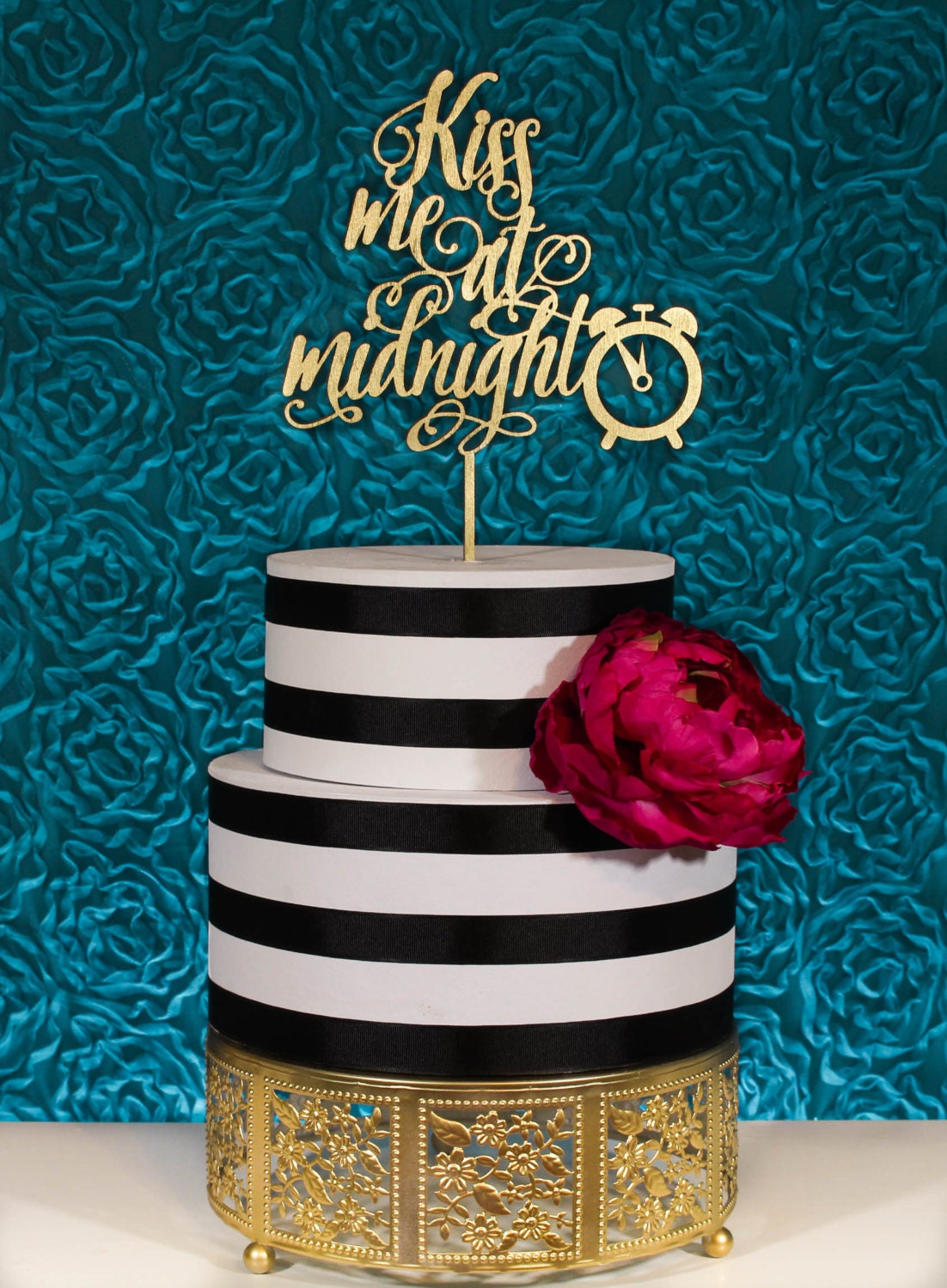 new years wedding cake topper kiss me at midnight