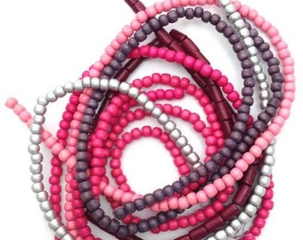 Bead mix, pink silver, 5-8 mm, 6 strands, wood beads, mix, Pukalite, pearls round, set