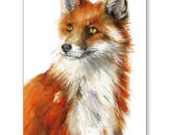 "FOX - Extra Large Watercolor Print  24x36"" / 20x30"" / 16x24""  Animal watercolor Illustration."