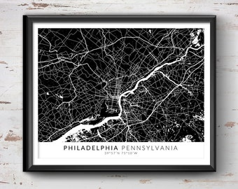 PHILADELPHIA Map with Coordinates, Philadelphia Map, Map Art, Map Print, Philadelphia Print, Philadelphia Art, Philadelphia Gift, Map Decor