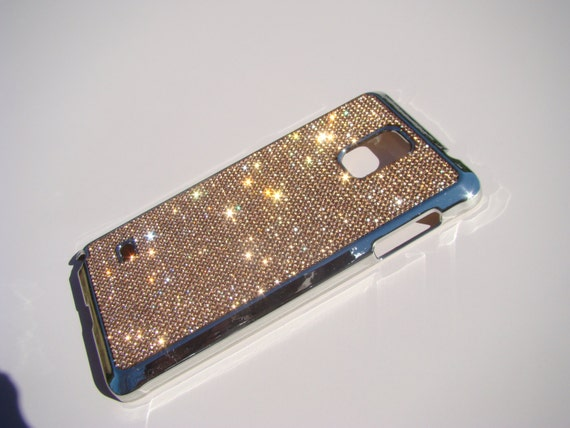 Galaxy Note 4 Rose Gold Rhinestone Crystals on Silver Chrome Case. Velvet/Silk Pouch Bag Included, Genuine Rangsee Crystal Cases.