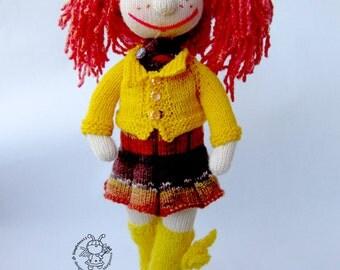 Doll Sunny - knitting pattern (knitted round). Amigurumi doll