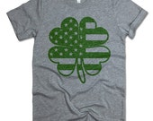 Irish American 4 Leaf Clover Shirt. Patrick's Day outfit. Adult/Unisex Fit Shirt. Saint Patricks Day Shirt. Irish Clover. Shamrock Shirt.