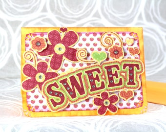 Sale! 2.00 off!  3-D Greeting Card, Sweet, Encouragement, Sayings, Flowers