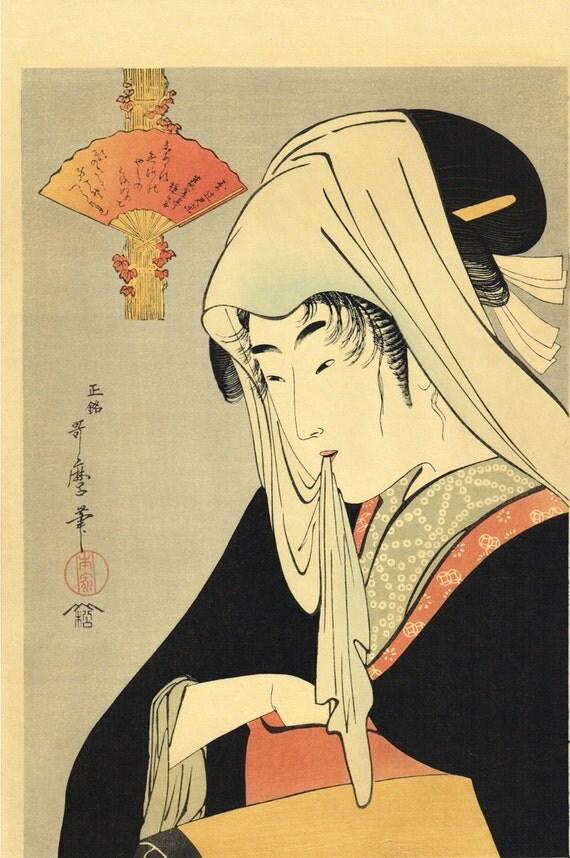 "Japanese Ukiyo-e Woodblock print, Utamaro, ""Tsujigimi"""