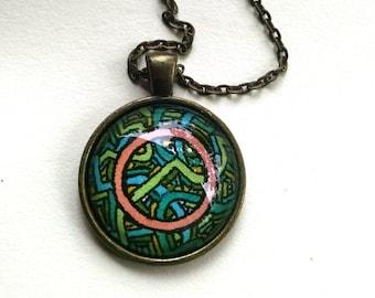 Pink Circle Pendant Necklace