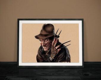 Freddy Krueger Drawing - A Nightmare on Elm Street Print - A4