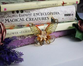 Beautiful Flutter Amber - Golden Fairy Wing Hair Clip