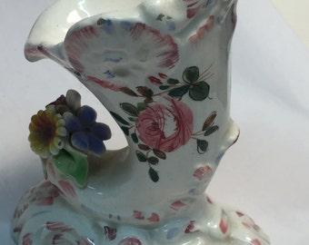 Vase Vintage Capodimonte Hand Painted Pottery Italian
