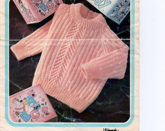 """Vintage Knitting Pattern pdf. Children's Sweater, Lacy Panel, Jumper, 4 Ply, Child's Jumper, Girl's Jumper -1 8""""-22"""" chest, Instant Download"""