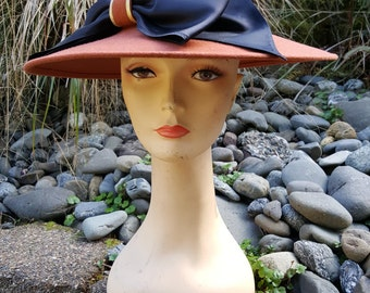 Brown Wool Wide Brim Hat With Black Satin Bow by Lancaster Collections