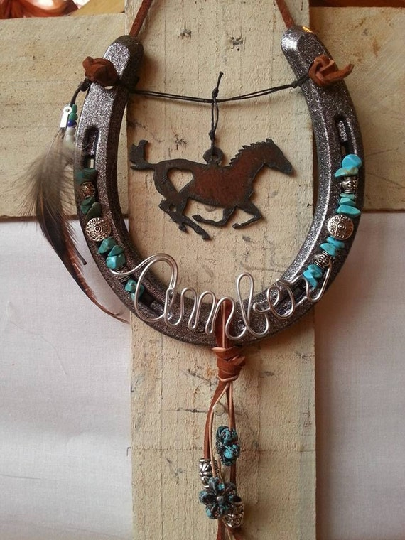 Decorated horseshoe personalized gift by whoagirldesigns for How to decorate horseshoes