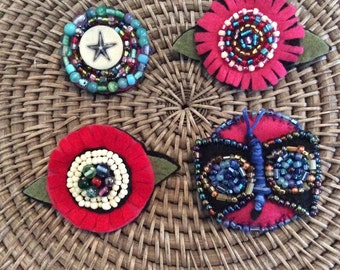 Boho Beaded Brooches