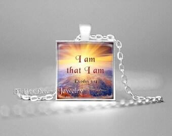 EXODUS 3:14 BIBLE SCRIPTURE Jewelry I Am That I Am Scripture Pendant Bible Quote Jewelry Christian Gift Bible Verse Pendant Bible Jewelry
