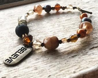 Multi mixed semi precious gemstone Crystal bead bracelet, lava rock, Quartz, fresh water Pearl bracelet, believe inspirational charm pendant