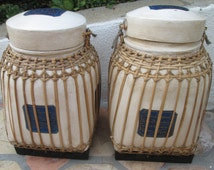 Bamboo Rice Storage Box Blue & White Oriental Decor Handmade and Hand painted Basket from Thailand, Set of Two