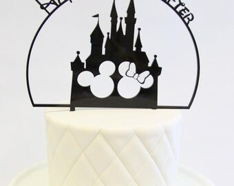 "Disney Inspired Cake Topper ""Happily Ever After""  - Wedding Decor, Mr and Mrs, Mickey and Minnie, Hidden Mickey, Disney Theme, Disney Couple"