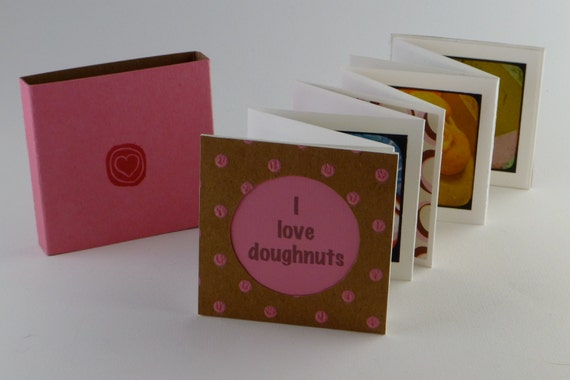Artists' Book, Handmade Book, Miniature Artists' Book, Miniature Book, Handmade Book, Doughnut, Donut, Photographs, Pink Box