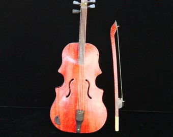 "Vintage Miniature Wooden Fiddle Instrument Violin 10"" , Detailed Hand Crafted, Music Lover or Holiday season Gift"