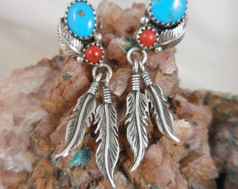 Native American Turquoise Coral Sterling Earrings