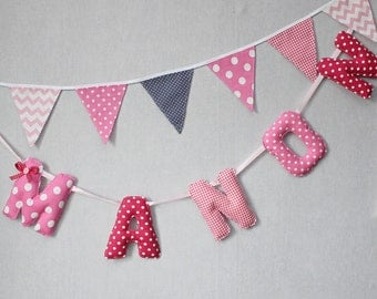 Fabric Name Banner, Nursery Wall Letters,Minnie Mouse Birthday,Fabric Letters, Pink, Personalized Name, Baby Shower,Name banner for nursery