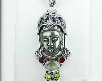 Work of Beauty! Pyrite Kwan Yin Guanyin BUDDHA Goddess Face Moon Face 925 S0LID Sterling Silver Pendant + 4MM Chain & Free Shipping p3781