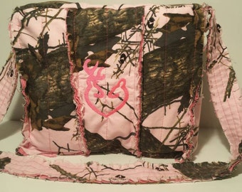 Pink Mossy Oak camo shoulder bag, pink camo purse, pink camo rag bag, personalized camo bag, rag bag,
