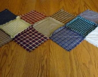 Homespun Rag Table Runner, Multi Color Table Runner, Patchwork Table Runner, Rag Quilt Table Runner, Country Table Runner