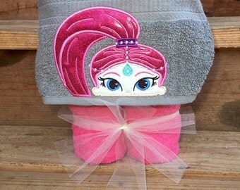 Shimmer and Shine Inspired Hooded Towel - Kids thru Adult - Shimmer, Shine