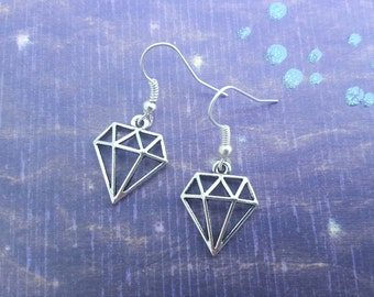 Diamond Earrings, Silver Plated Earrings, Dangling Earrings, Tattoo Jewellery, Gem Jewelry, Little Earrings, Diamond Charms, Tattoo Gift