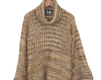 French Vintage 1970's Bell Sleeved Knit Mohair Turtleneck Sweater
